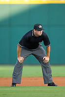 Third base umpire Drew Maher during the International League game between the Gwinnett Braves and the Charlotte Knights at BB&T Ballpark on August 19, 2014 in Charlotte, North Carolina.  The Braves defeated the Knights 10-5.   (Brian Westerholt/Four Seam Images)