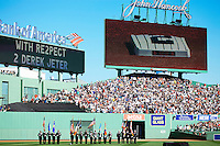 BOSTON, MASS. - SEPT. 28, 2014: The scoreboard and jumbotron honor Derek Jeter in a pre-game ceremony before the New York Yankees and Boston Red Sox play at Fenway Park. The game is last game of Derek Jeter's career. M. Scott Brauer for The New York Times