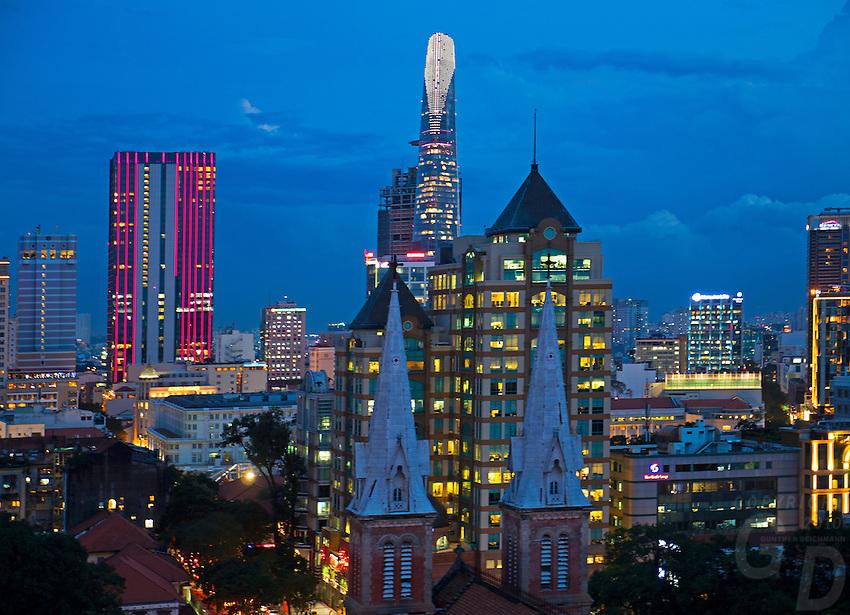 Birds Eye View of Saigon (Ho Chi Minh City, HCMC) and the stunning Notre-Dame Cathedral Basilica of Saigon (Vietnamese: Vương cung thánh đường Chính tòa Đức Bà Sài Gòn or Nhà thờ Đức Bà Sài Gòn; French: Basilique-Cathédrale Notre-Dame de Saigon),  is a cathedral located in the downtown of Ho Chi Minh City, Vietnam. Established by French colonists who initially named it Cathédrale Notre-Dame de Saïgon, the cathedral was constructed between 1863 and 1880. It has two bell towers, reaching a height of 58 meters (190feet).