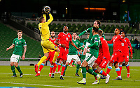 27th March 2021; Aviva Stadium, Dublin, Leinster, Ireland; 2022 World Cup Qualifier, Ireland versus Luxembourg; Anthony Moris of Luxembourg collects the corner ball