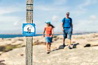Hikers on Kuststigen trail - Bohus Malmön, West Sweden, Sweden - Västsverige, Sverige