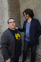 English actor, screenwriter and comedian Nick Frost (L) and director, screenwriter and producer Edgar Wright (R), august 2013