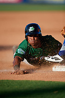 Daytona Tortugas right fielder Michael Beltre (33) slides into third base during a game against the St. Lucie Mets on August 3, 2018 at First Data Field in Port St. Lucie, Florida.  Daytona defeated St. Lucie 3-2.  (Mike Janes/Four Seam Images)