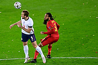 15th November 2020; Leuven, Belgium;  Harry Kane forward of England battles for the ball with Jason Denayer defender of Belgium during the UEFA Nations League match group stage final tournament - League A - Group 2 between Belgium and England