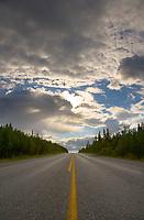 Center line on the Richardson highway south of Fairbanks, Alaska