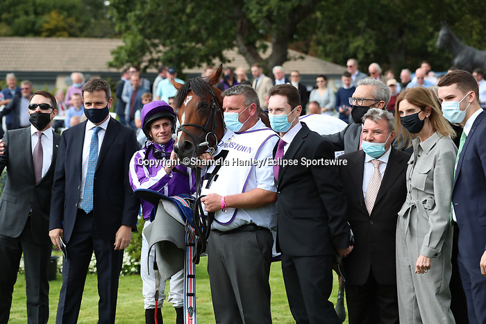 September 11, 2021: St. Mark's Basilica (FR) #4, ridden by jockey Ryan Moore win the Group 1 Irish Champion Stakes on the turf on Irish Champions Weekend at Leopardstown Racecourse in Dublin, Ireland on September 11th, 2021. Shamela Hanley/Eclipse Sportswire/CSM