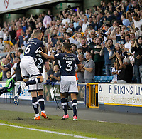GOAL - Millwall's Aiden O'Brien is mobbed after his goal during the Sky Bet Championship match between Millwall and Ipswich Town at The Den, London, England on 15 August 2017. Photo by Carlton Myrie.