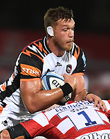 24th September 2021;  Kingsholm Stadium, Gloucester, England; Gallaher Premiership Rugby, Gloucester Rugby versus Leicester Tigers: Hanro Liebenberg of Leicester Tigers is tackled by Harry Elrington of Gloucester