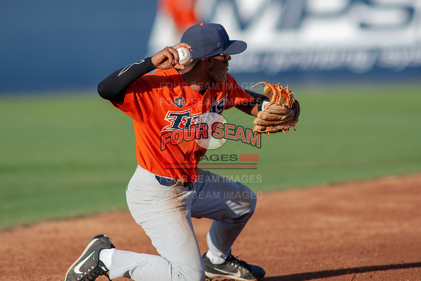 Cal State Fullerton Titans Sahid Valenzuela (4) in action against the University of Washington Huskies at Goodwin Field on June 10, 2018 in Fullerton, California. The Huskies defeated the Titans 6-5. (Donn Parris/Four Seam Images)