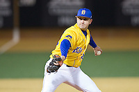 Delaware Blue Hens relief pitcher Taylor Mahoney (28) in action against the Wake Forest Demon Deacons at Wake Forest Baseball Park on February 13, 2015 in Winston-Salem, North Carolina.  The Demon Deacons defeated the Blue Hens 3-2.  (Brian Westerholt/Four Seam Images)