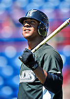8 March 2010: Florida Marlins' infielder Ozzie Martinez awaits his turn in the batting cage prior to a Spring Training game against the Washington Nationals at Space Coast Stadium in Viera, Florida. The Marlins defeated the Nationals 12-2 in Grapefruit League action. Mandatory Credit: Ed Wolfstein Photo