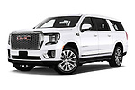 Stock pictures of low aggressive front three quarter view of 2021 GMC Yukon-XL Denali 5 Door SUV Low Aggressive