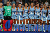 Argentine National Anthem during the Pro League Hockey match between the Blacksticks women and Argentina, Nga Punawai, Christchurch, New Zealand, Friday 28 February 2020. Photo: Simon Watts/www.bwmedia.co.nz