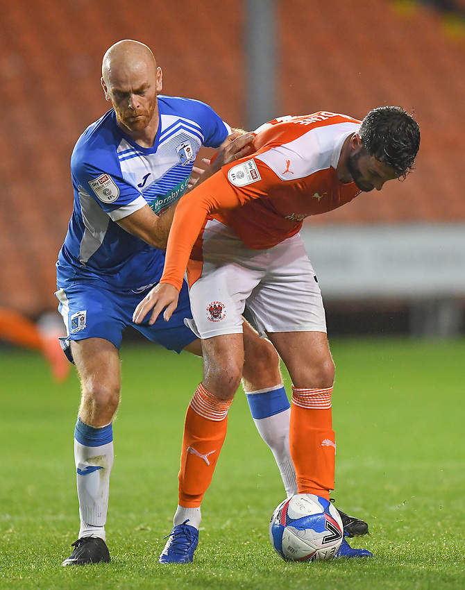 Blackpool's Gary Madine shields the ball<br /> <br /> Photographer Dave Howarth/CameraSport<br /> <br /> EFL Trophy Northern Section Group G - Blackpool v Barrow - Tuesday 8th September 2020 - Bloomfield Road - Blackpool<br />  <br /> World Copyright © 2020 CameraSport. All rights reserved. 43 Linden Ave. Countesthorpe. Leicester. England. LE8 5PG - Tel: +44 (0) 116 277 4147 - admin@camerasport.com - www.camerasport.com