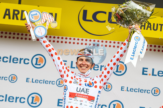 Race leader Tadej Pogacar (SLO) UAE Team Emirates wins  Stage 18 and also takes over the mountains Polka Dot Jersey of the 2021 Tour de France, running 129.7km from Pau to Luz Ardiden, France. 15th July 2021.  <br /> Picture: A.S.O./Charly Lopez | Cyclefile<br /> <br /> All photos usage must carry mandatory copyright credit (© Cyclefile | A.S.O./Charly Lopez)