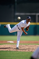Detroit Tigers pitcher Wladimir Pinto (50) delivers a pitch during a Florida Instructional League game against the Pittsburgh Pirates on October 6, 2018 at Joker Marchant Stadium in Lakeland, Florida.  (Mike Janes/Four Seam Images)