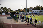 Enfield Town 4 Lewes 1, 11/09/2020. Queen Elizabeth Stadium, Isthmian League Premier Division. Shaun Okojie scores for Enfield Town. Photo by Simon Gill.