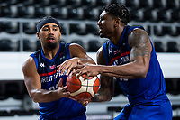 22nd February 2021, Podgorica, Montenegro; Eurobasket International Basketball qualification for the 2022 European Championships, England versus France;  Dwayne Lautier-Ogunleye of and Ovie Soko of Great Britain keep possession