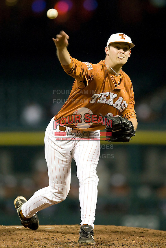 NCAA Baseball featuring the Texas Longhorns against the Missouri Tigers. Jungmann, Taylor 3652  at the 2010 Astros College Classic in Houston's Minute Maid Park on Sunday, March 7th, 2010. Photo by Andrew Woolley