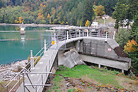 Glines Canyon Dam from the eastside, Olympic National Park, Washington State. Also called the Upper Elwha River Dam
