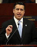 Nevada Gov. Brian Sandoval delivers the State of the State address at the Legislature in Carson City, Nev., on Wednesday, Jan. 16, 2013. (AP Photo/Cathleen Allison)