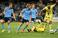 8th February 2021; Jubilee Stadium, Sydney, New South Wales, Australia; A League Football, Sydney Football Club versus Wellington Phoenix; Rhyan Grant of Sydney fouls Reno Piscopo of Wellington Phoenix on the edge of the area