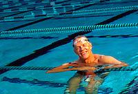 Older man in swimming pool
