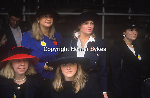 Central London. 1990<br /> Four English roses with matching blonde hair and powder perfect complexions attend the Lord Mayor's Show along with a friend in a fetching black veil.