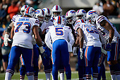 Buffalo Bills quarterback Tyrod Taylor (5) calls the play in the huddle during an NFL Wild-Card football game against the Jacksonville Jaguars, Sunday, January 7, 2018, in Jacksonville, Fla.  (Mike Janes Photography)