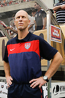 United States head coach Bob Bradley at the bench prior to an international friendly between the men's national teams of the United States (USA) and Turkey (TUR) at Lincoln Financial Field in Philadelphia, PA, on May 29, 2010.