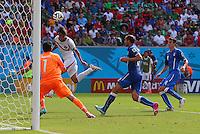 Bryan Ruiz of Costa Rica scores a goal to make the score 1-0