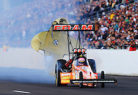Feb. 20, 2010; Chandler, AZ, USA; NHRA top fuel dragster driver Cory McClenathan during qualifying for the Arizona Nationals at Firebird International Raceway. Mandatory Credit: Mark J. Rebilas-