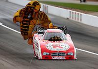 Mar 29, 2014; Las Vegas, NV, USA; NHRA funny car driver Jeff Arend during qualifying for the Summitracing.com Nationals at The Strip at Las Vegas Motor Speedway. Mandatory Credit: Mark J. Rebilas-