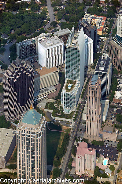 aerial photograph of Atlantic Center, Promenade and 180 Peachtree Street skyscrapers, Atlanta, Georgia