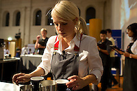 MELBOURNE, AUSTRALIA - JANUARY 09: Erin Sampson competing in the 2011 Victorian Barista Championship held at St Kilda Town Hall on January 9, 2011 in Melbourne, Australia. (Photo by Sydney Low / Asterisk Images)