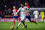 Marco Asensio Willemsen (l) of Real Madrid fights for the ball with Gabriel Fernandez Arenas, Gabi, of Atletico de Madrid during the La Liga 2017-18 match between Atletico de Madrid and Real Madrid at Wanda Metropolitano  on November 18 2017 in Madrid, Spain. Photo by Diego Gonzalez / Power Sport Images