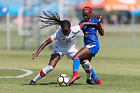 Bradenton, FL - Sunday, June 12, 2018: Wayny Balata, Danielle Etienne prior to a U-17 Women's Championship 3rd place match between Canada and Haiti at IMG Academy. Canada defeated Haiti 2-1.