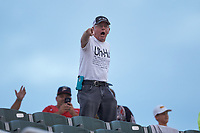 """""""Uh-huh Guy"""" Paul Buchanan yells during the South Atlantic League game between the Hagerstown Suns and the Kannapolis Intimidators at Kannapolis Intimidators Stadium on August 27, 2019 in Kannapolis, North Carolina. The Intimidators defeated the Suns 5-4. (Brian Westerholt/Four Seam Images)"""