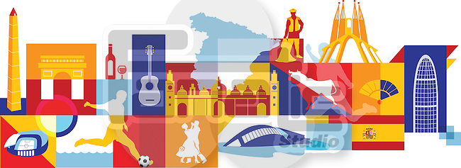 Illustrative collage of Spain over white background