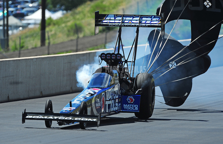 Jul. 24, 2011; Morrison, CO, USA: NHRA top fuel dragster driver Antron Brown during the Mile High Nationals at Bandimere Speedway. Mandatory Credit: Mark J. Rebilas-