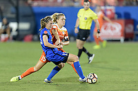 Frisco, TX - Sunday September 03, 2017: Rebekah Stott and Kristie Mewis during a regular season National Women's Soccer League (NWSL) match between the Houston Dash and the Seattle Reign FC at Toyota Stadium in Frisco Texas. The match was moved to Toyota Stadium in Frisco Texas due to Hurricane Harvey hitting Houston Texas.
