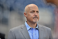 10 October 2012: Washington Nationals General Manager Mike Rizzo watches batting practice prior to Postseason Playoff Game 3 of the National League Divisional Series between the St. Louis Cardinals and the Washington Nationals at Nationals Park in Washington, DC. The Cardinals shut out the Nationals 8-0 in the third game of their best of five series, giving St. Louis a 2-1 lead in the playoff. Mandatory Credit: Ed Wolfstein Photo