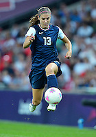 August 09, 2012: United States' Alex Morgan in action during Football Final match at the Wembley Stadium on day thirteen in Wembley, England. USA defeat Japan 2-1 to win it's third consecutive Olympic gold medal in women's soccer. ..