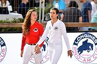 Charlotte Casiraghi, la fille de la Princesse Caroline de Hanovre, et sa partenaire Ilaria Sutera durant le Longines proAm Cup Monaco dans le cadre du Jumping International de Monte Carlo 2016 le 24 juin 2016.