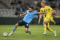 8th February 2021; Jubilee Stadium, Sydney, New South Wales, Australia; A League Football, Sydney Football Club versus Wellington Phoenix; Kosta Barbarouses of Sydney stretches for a cross as James McGarry of Wellington Phoenix closes in