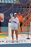 MIAMI GARDENS, FLORIDA - APRIL 03: ((NO SALES TO NEW YORK POST) Bianca Andreescu of Canada holds the runners-up trophy after retiring from her match against Ashleigh Barty of Australia during the final of the Miami Open at Hard Rock Stadium on April 03, 2021 in Miami Gardens, Florida.<br /> <br /> People:  Ashleigh Barty Credit: hoo-me / MediaPunch