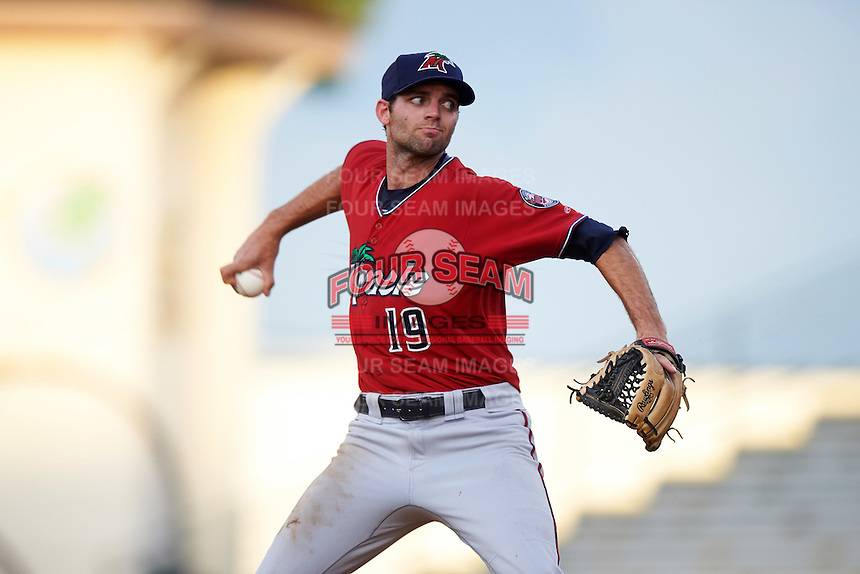 Fort Myers Miracle starting pitcher Randy LeBlanc (19) during a game against the Bradenton Marauders on August 3, 2016 at McKechnie Field in Bradenton, Florida.  Bradenton defeated Fort Myers 9-5.  (Mike Janes/Four Seam Images)
