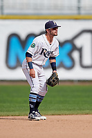Princeton Rays second baseman Jake Palomaki (1) during the second game of a doubleheader against the Greeneville Reds on July 25, 2018 at Hunnicutt Field in Princeton, West Virginia.  Greeneville defeated Princeton 8-7.  (Mike Janes/Four Seam Images)