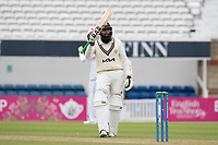 Hashim Amla of Surrey CCC acknowledges his century during Surrey CCC vs Hampshire CCC, LV Insurance County Championship Group 2 Cricket at the Kia Oval on 30th April 2021