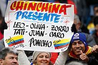 TEMUCO - CHILE - 21-04-2015: Hinchas de Colombia, animan a su equipo, durante partido Colombia y Peru, por la fase de grupos, Grupo C, de la Copa America Chile 2015, en el estadio German Becker en la Ciudad de Temuco  / Fans of Colombia, cheer for their team during a match between Colombia and Peru for the group phase, Group C, of the Copa America Chile 2015, in the German Becker stadium in Temuco city. Photos: VizzorImage /  Photosport / Dragomir Yankovic  / Cont.